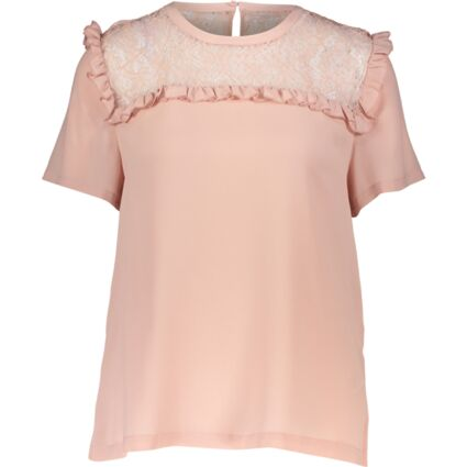 Pink Lace Ruffle Short Sleeve Top