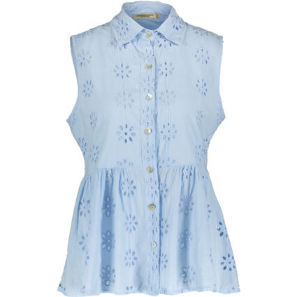 Blue Eyelet Embroidered Sleeveless Top