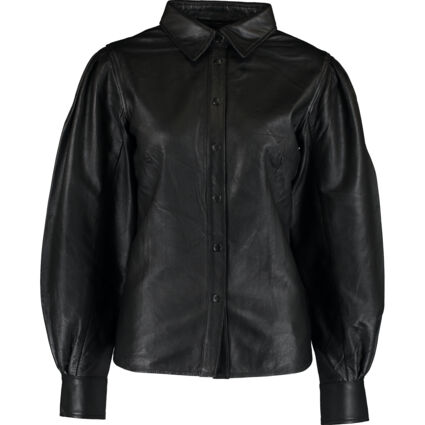 Black Puffed Sleeve Leather Blouse