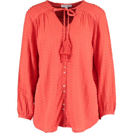 Red Textured Long Sleeve Top