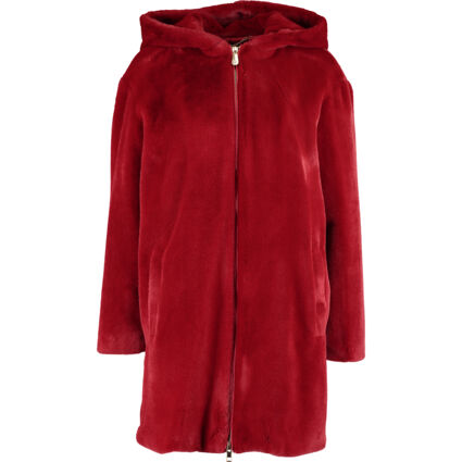 Red Faux Fur Hooded Jacket