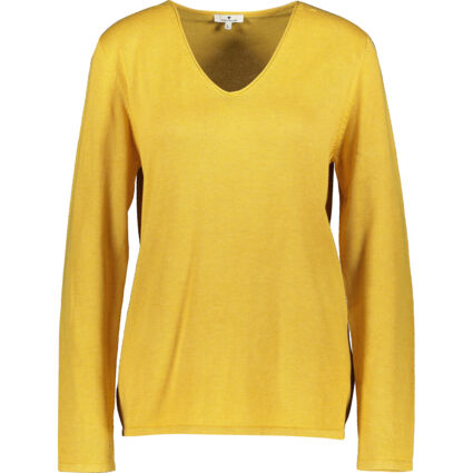 Yellow Knitted V Neck Jumper