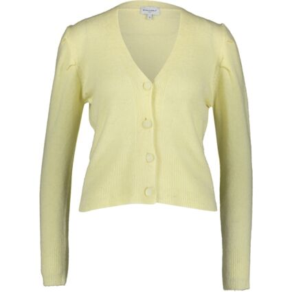 Pale Yellow Pleated Drop Shoulder Cardigan