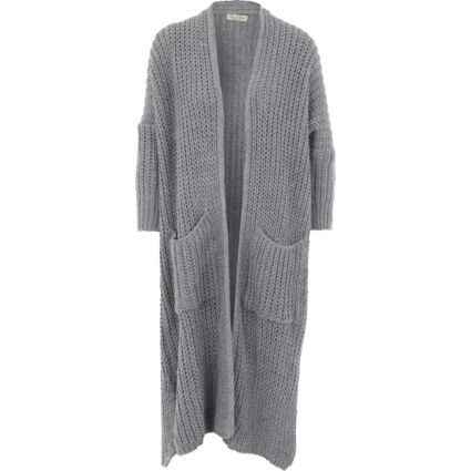 Grey Thick Knitted Long Cardigan