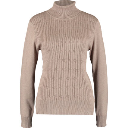 Brown Ribbed Roll Neck Jumper