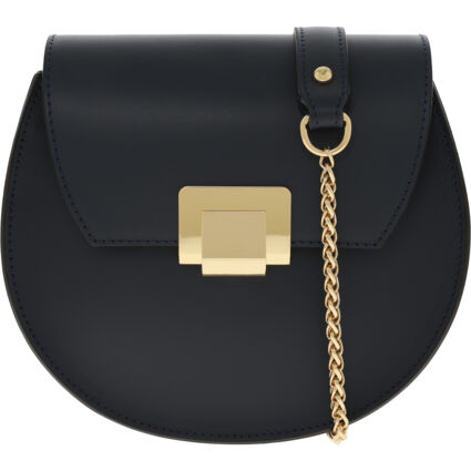 Navy & Gold Tone Leather Cross Body Bag