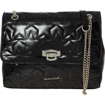 Black Quilted Stars Cross Body Bag