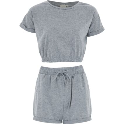 Two Piece Grey Crop Top & Shorts Set