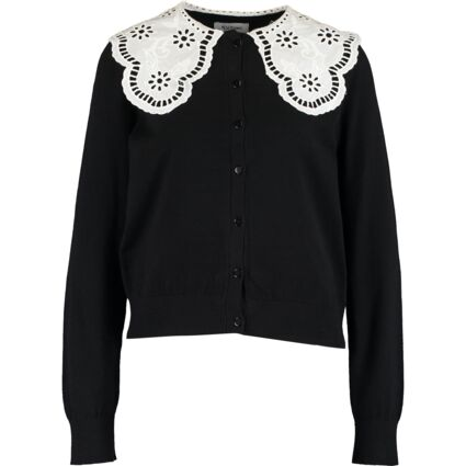 Black Broderie Anglaise Collar Cardigan