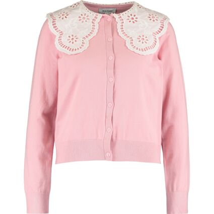 Pink Broderie Anglaise Collar Cardigan