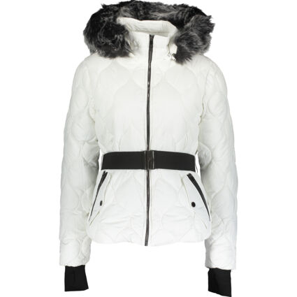 White Belted Faux Fur Puffer Jacket