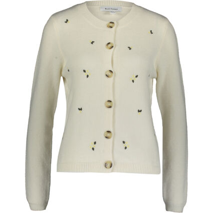 Cream Floral Embroidered Cardigan