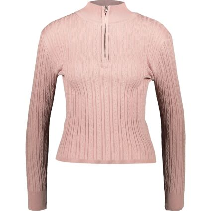 Pink Cable Knit Zip Neck Jumper