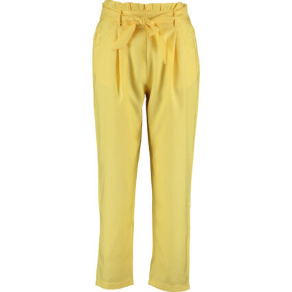 Yellow Tie Belted Paper Bag Trousers