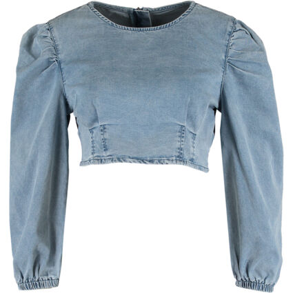 Blue Denim Puff Sleeve Cropped Fit Top