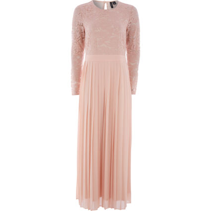 Pale Pink Pleated Lace Maxi Dress