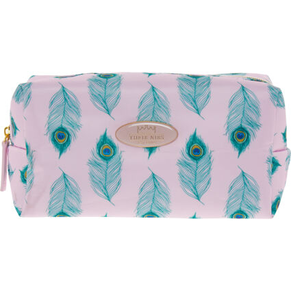 Pink & Green Feather Pattern Cosmetic Bag