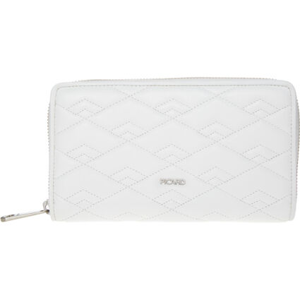 White Quilted Zip Purse
