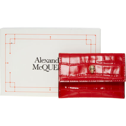 Red Reptile Effect Card Holder