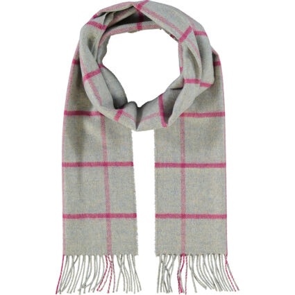 Grey & Pink Cashmere Check Scarf