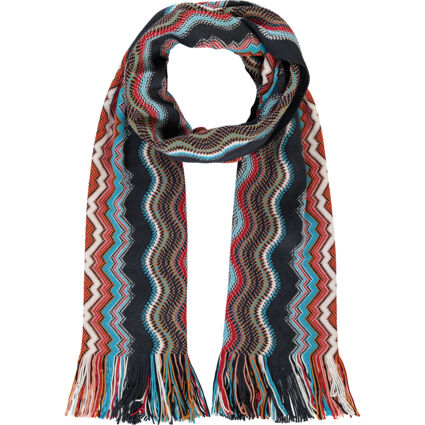 Multicoloured Wool Patterned Scarf