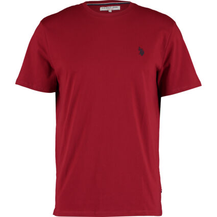 Red Embroidered Logo Plain T Shirt
