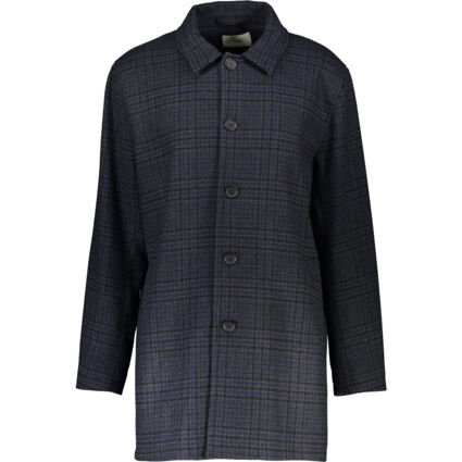 Navy Checked Patterned Wool Overcoat