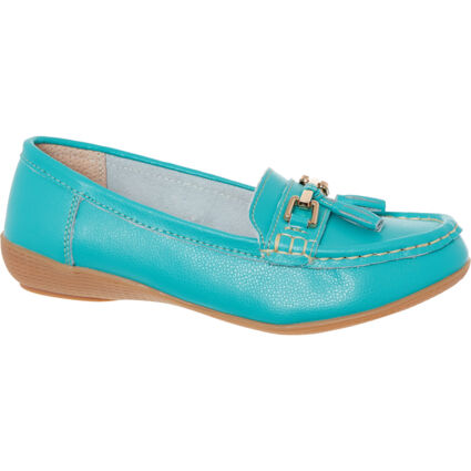 Turquoise Leather Loafers