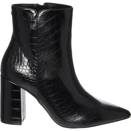 Black Soriano Reptile Effect Heeled Ankle Boots