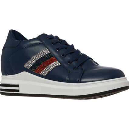 Navy Embellished Trainers