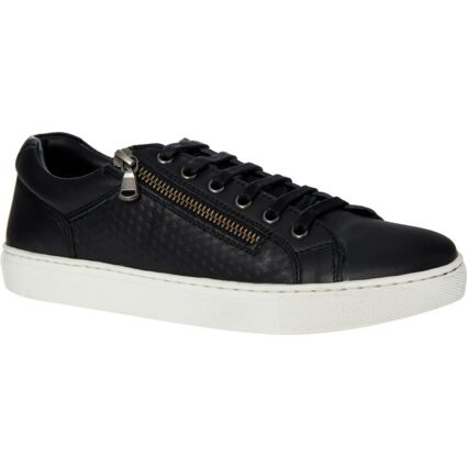 Black Leather Low Cut Trainers