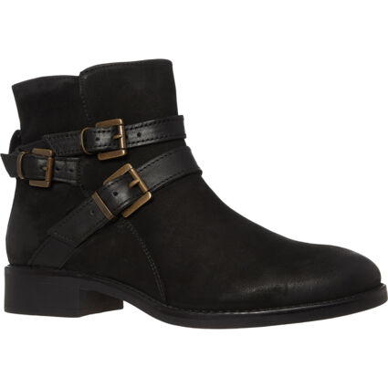 Black Leather Multi Buckle Ankle Boots