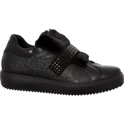 Black Studded Faux Fur Trainers
