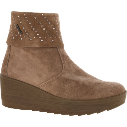 Brown Jeweled Wedge Heel Ankle Boots