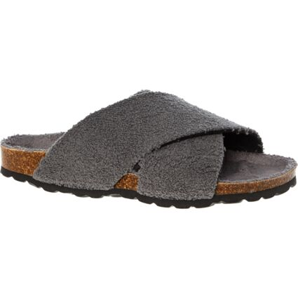 Grey Terry Towelling Cross Strap Sandals