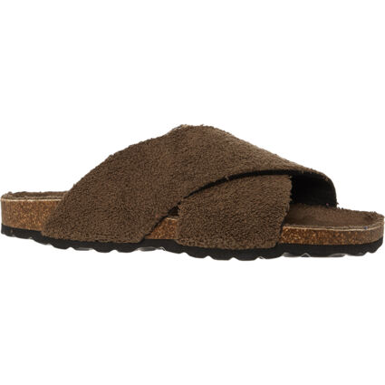 Brown Terry Cross Strap Sandals