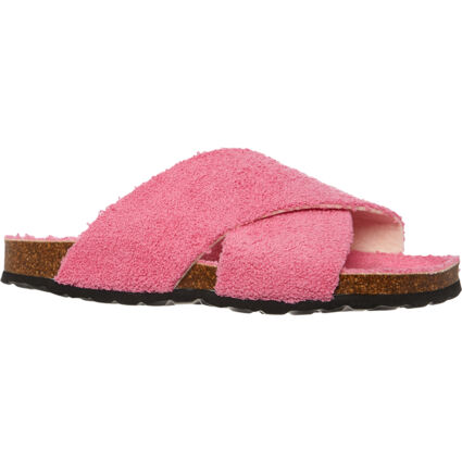 Pink Terry Cross Strap Sandals
