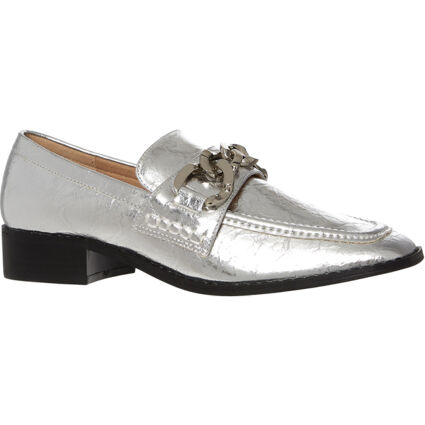 Silver Tone Chain Front Loafers