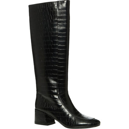 Black Reptile Effect Heeled Knee Boots