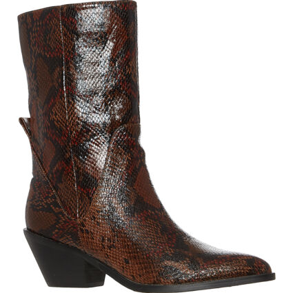Brown Snake Western Heeled Ankle Boots