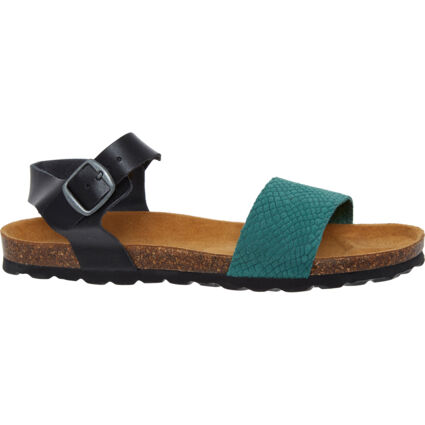 Green Reptile Effect Suede Sandals