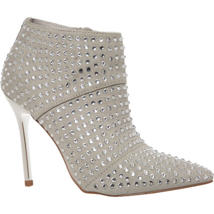 Silver Tone Embellished Mylo Ankle Boots
