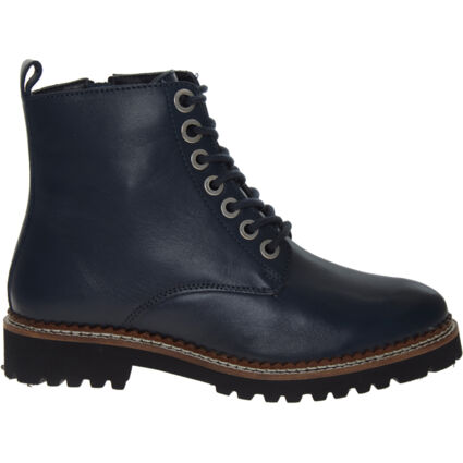 Navy Grained Leather Boots