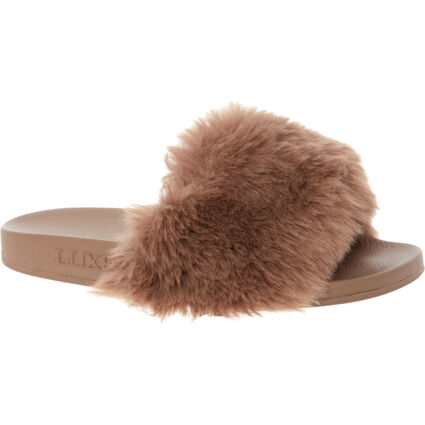Taupe Faux Fur Sliders