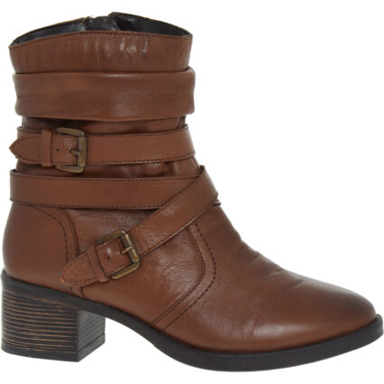 Brown Leather Heeled Ankle Boots