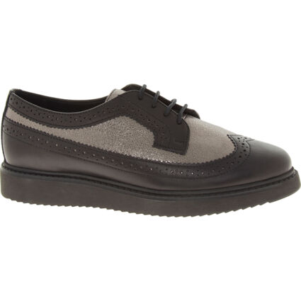 Black & Silver Toned Leather Brogues