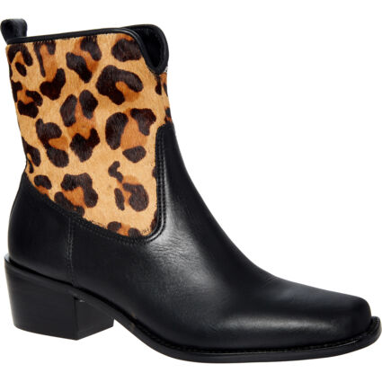 Black & Brown Patterned Leather Ankle Boots