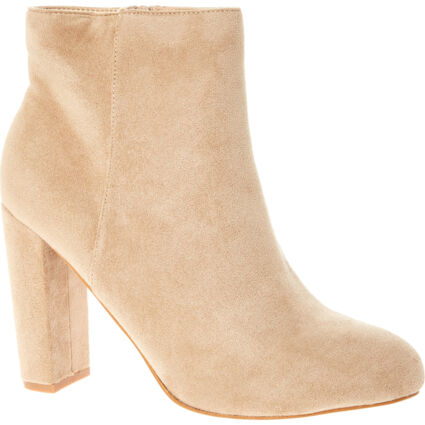 Cream Heeled Ankle Boots