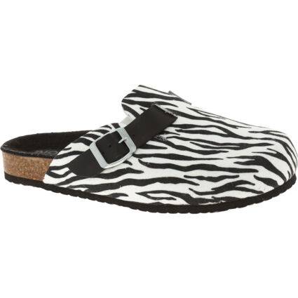 Black & White Leather Animal Effect Sandals