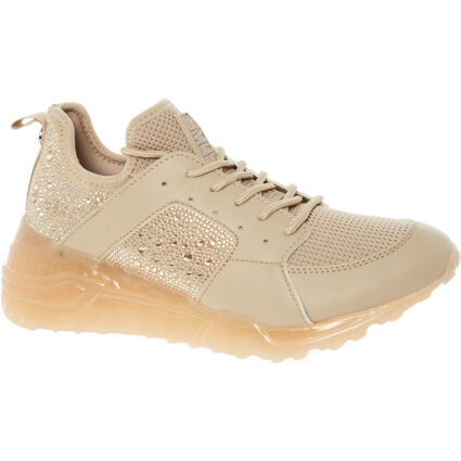 Cream Embellished Lace Up Trainers
